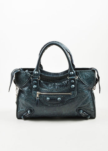 "Balenciaga Blue Leather Silver Toned Metal ""Giant 21 Covered Brogues City"" Bag Frontview"