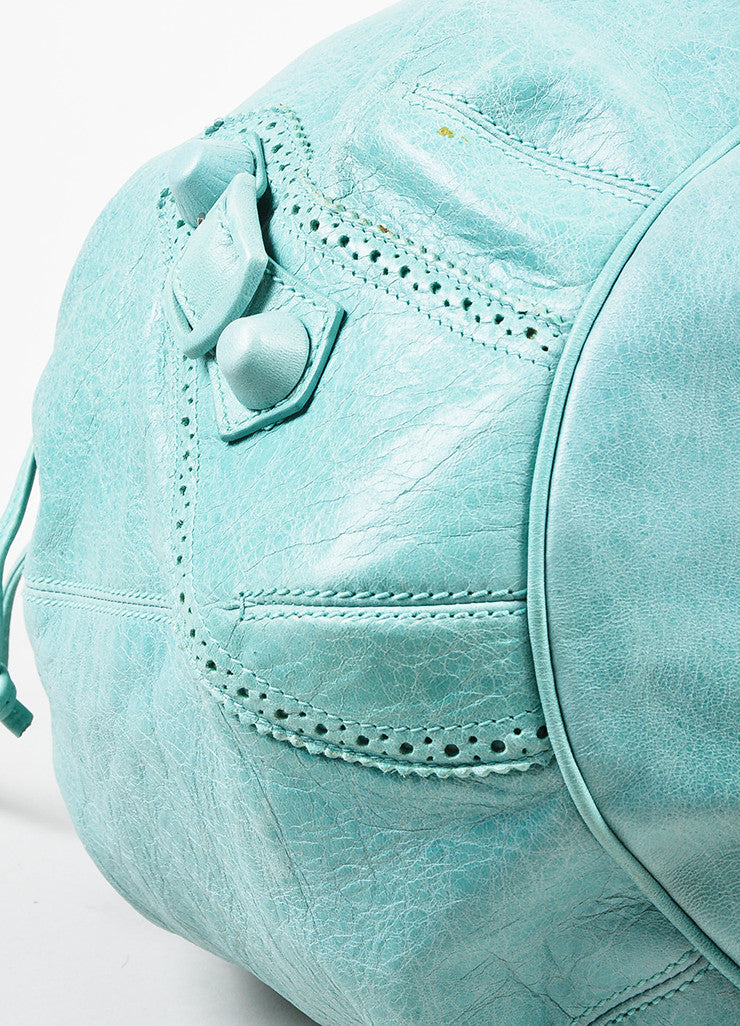 "Balenciaga Mint Green Leather ""Giant 21 Covered Brogues Pompon"" Bag Detail"