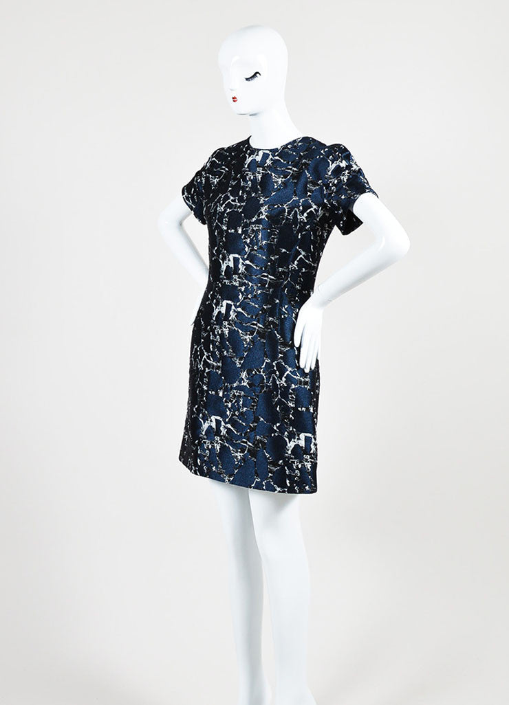 Navy Blue, Black, and Grey Balenciaga Brocade A-Line Short Sleeve Dress Sideview