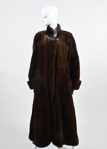 Brown Bisang Long Fur Coat Frontview 2