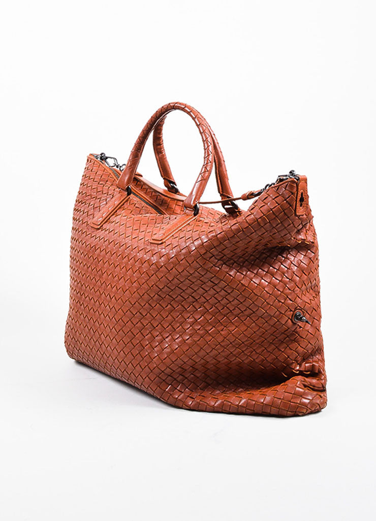 """Apia"" Red Bottega Veneta Leather Intrecciato Woven Convertible Tote Bag Sideview"