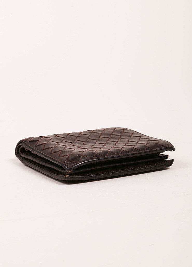 Bottega Veneta Brown Woven Leather Wallet Sideview