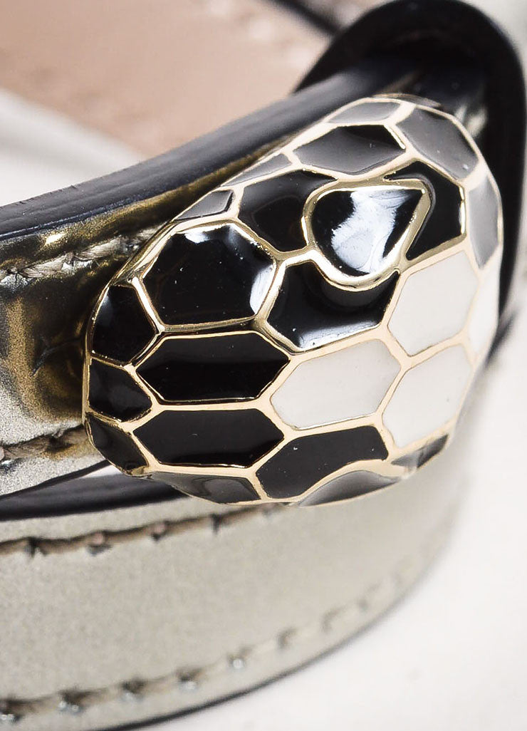 "Bulgari Metallic Silver Patent Leather Enamel ""Serpenti Forever"" Wrap Bracelet Detail"