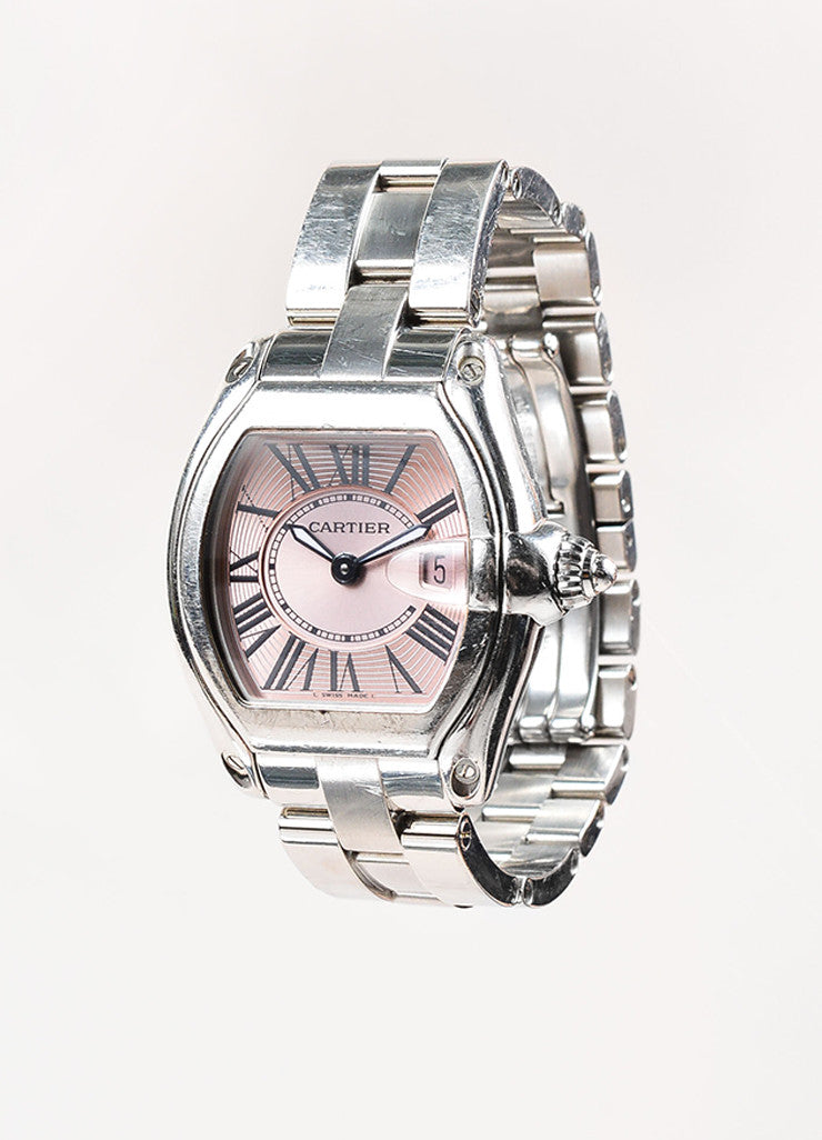 "Cartier Silver Toned and Pink Stainless Steel Tonneau ""Roadster"" Watch Sideview"