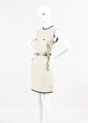 Celine Beige and Black Linen Leather Trim Belted Shift Dress Sideview