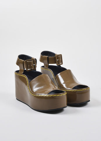 Celine Brown Patent Leather Covered Platform Heeled Wedge Ankle Sandals Frontview
