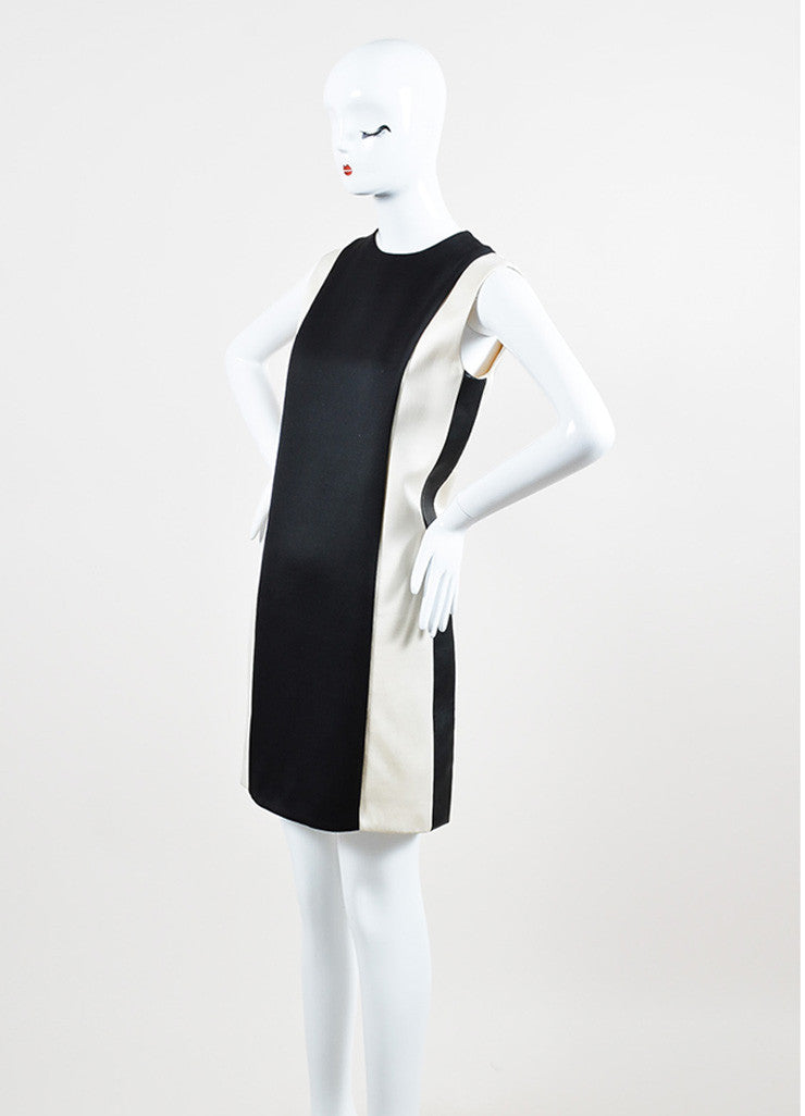 Celine Cream and Black Silk and Wool Blend Leather Trim Color Block Shift Dress Sideview