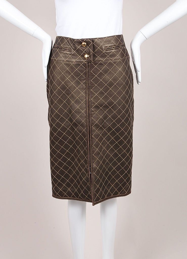 Chanel Brown and Bronze Leather Metallic Quilted Pencil Skirt Frontview
