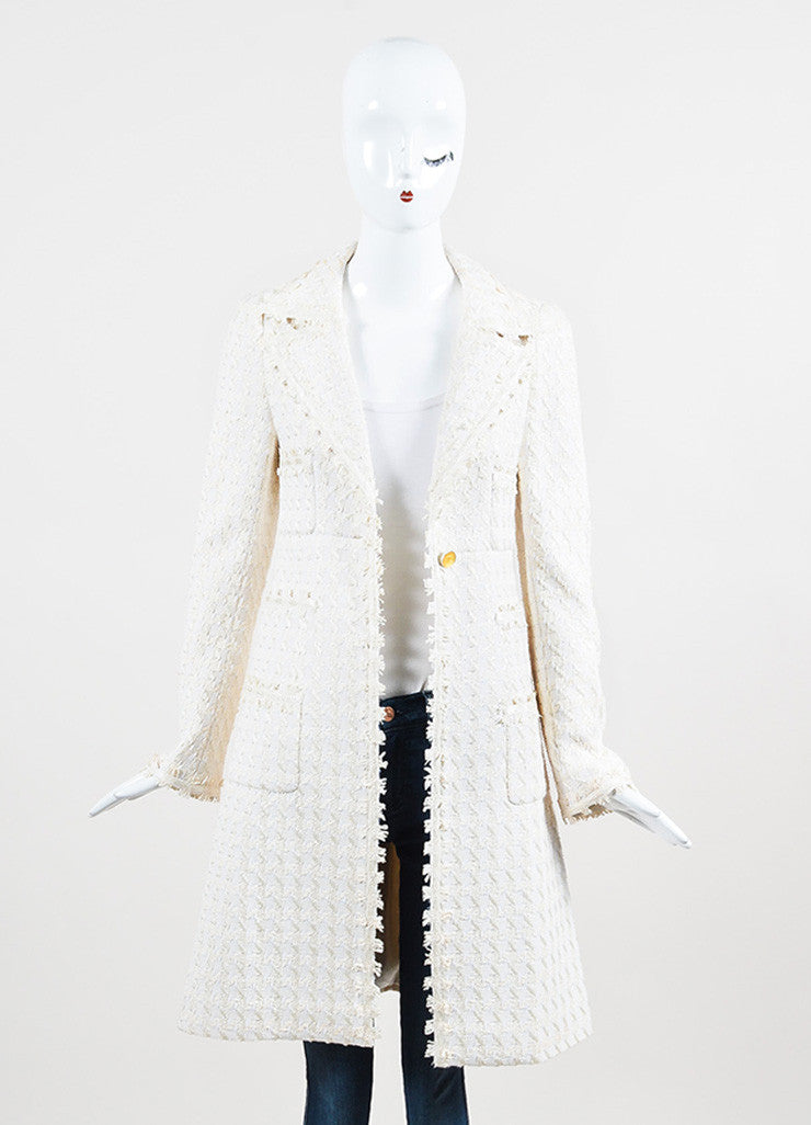 "Chanel ""Light Beige"" and White Silk Blend Tweed Buttoned Car Coat Frontview"