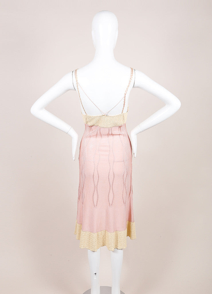 Chanel Cream and Pink Crochet Knit Floral Applique Double Strap Slip Dress Backview
