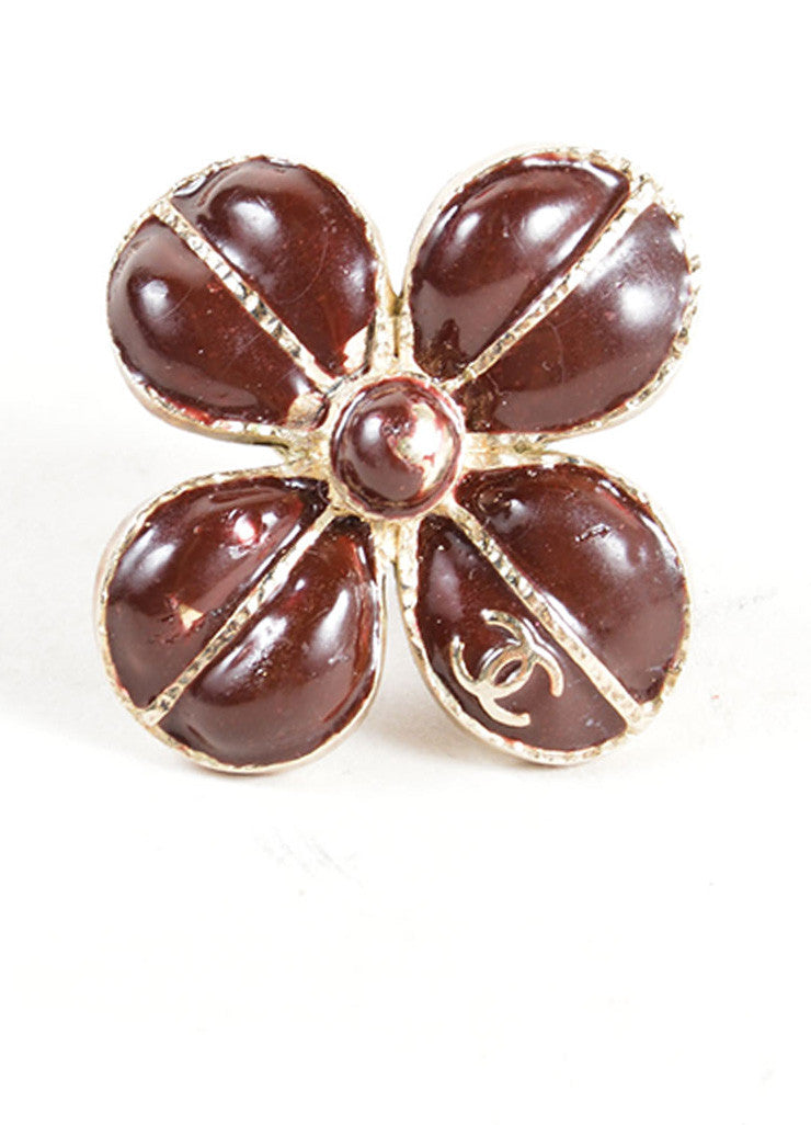 Chanel Maroon Red and Gold Toned Clover Flower 'CC' Cocktail Ring Frontview