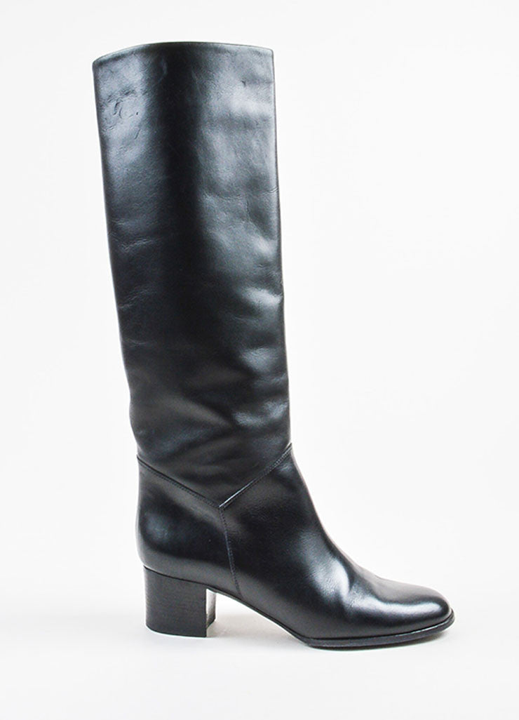 Chanel Black Leather 'CC' Stitched Knee High Heeled Riding Boots Sideview