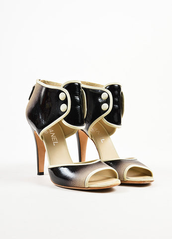 ¥éËChanel Black and Cream Ombre Patent Leather Suede Ankle Strap Heels Frontview