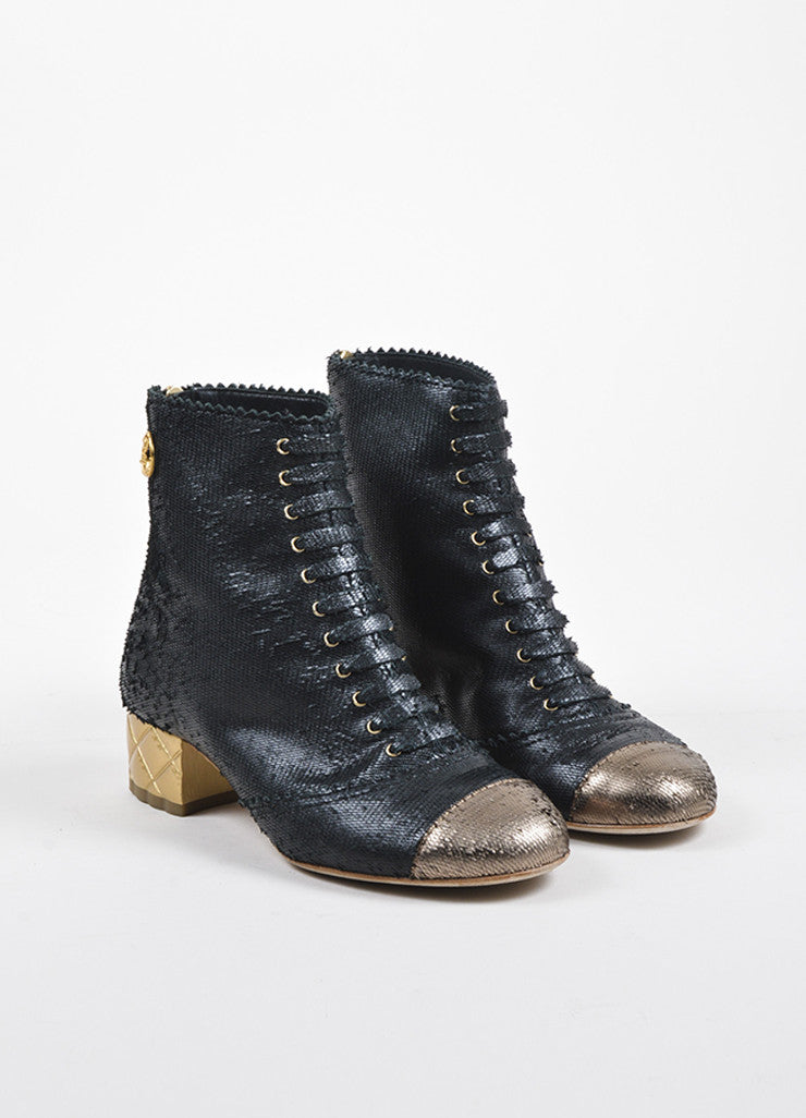Chanel Black and Gold Textured Leather Lace Up 'CC' Deer Medallion Ankle Boots Frontview