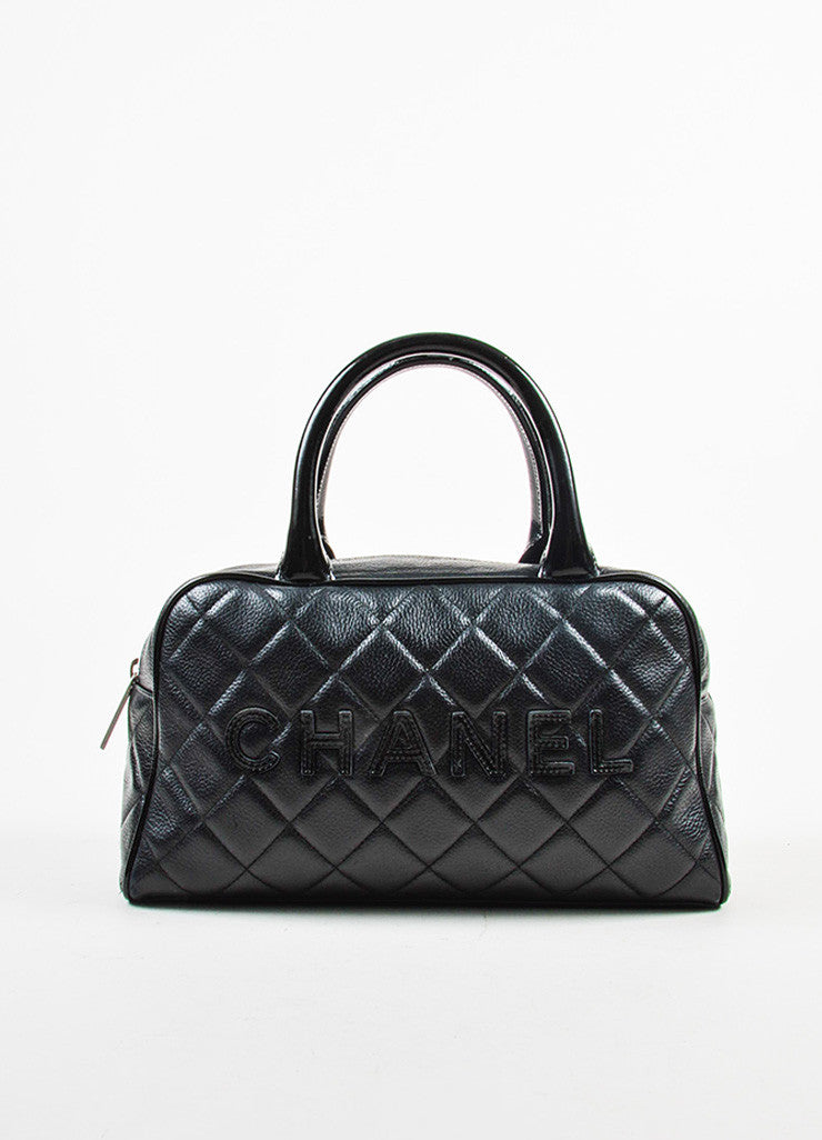 Chanel Black Leather Quilted Stitched Script Patent Top Handle Bowler Bag Frontview