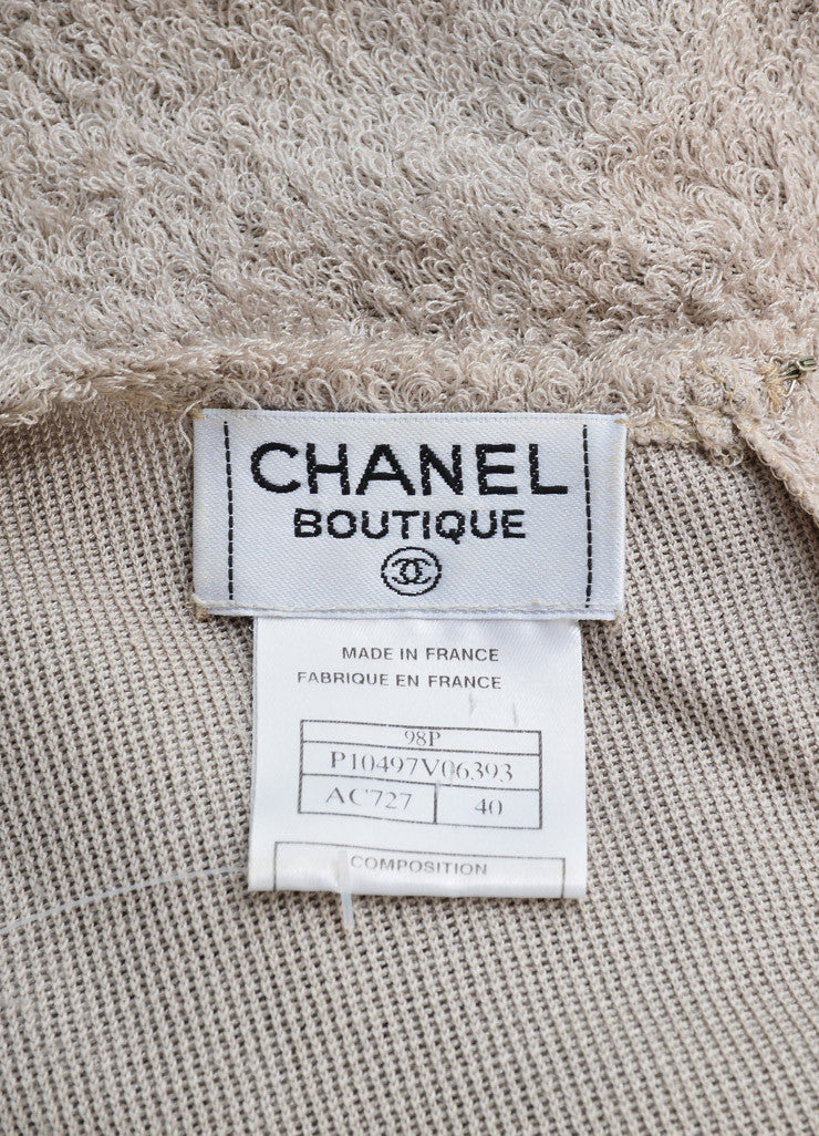 Chanel Taupe Terry Chenille Side Button Sleeveless Crop Top Brand