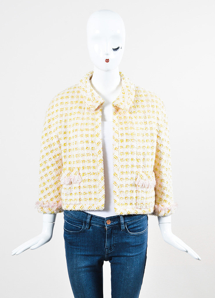 Chanel Pink and Yellow Boucle Tweed Shimmer Tread Fray Edge Jacket Frontview