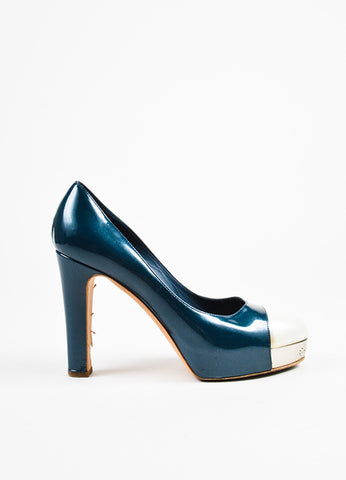 Chanel Dark Teal and Cream Patent Leather Silver Toned Cap Toe Platform Pumps Sideview