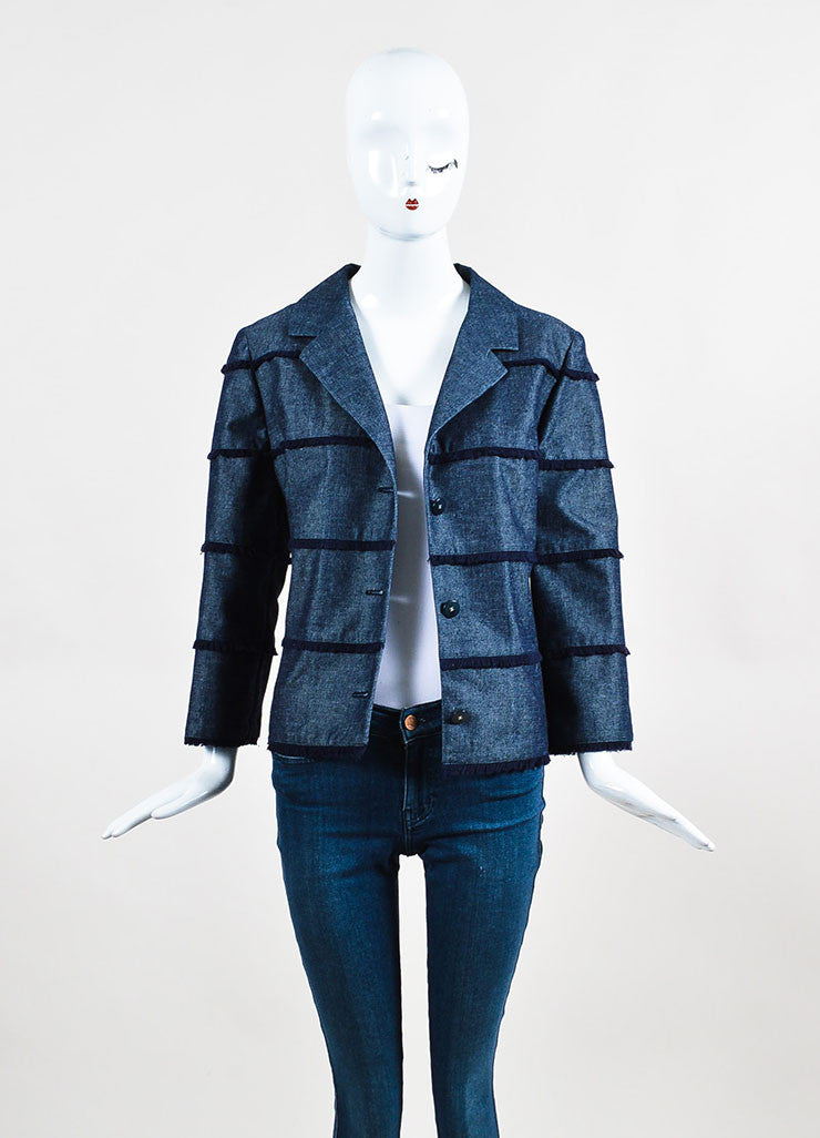 Chanel Denim Frayed Detail Cropped Sleeve Jacket Frontview