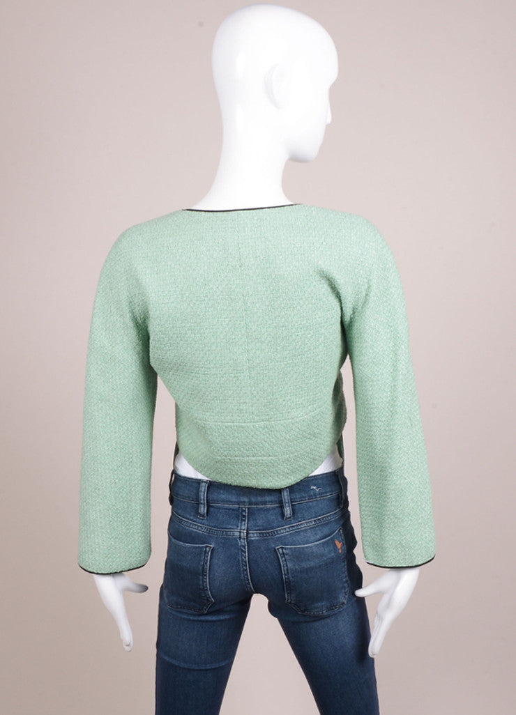 Chanel Mint Green and Black Contrast Woven Knit Cropped Jacket Backview