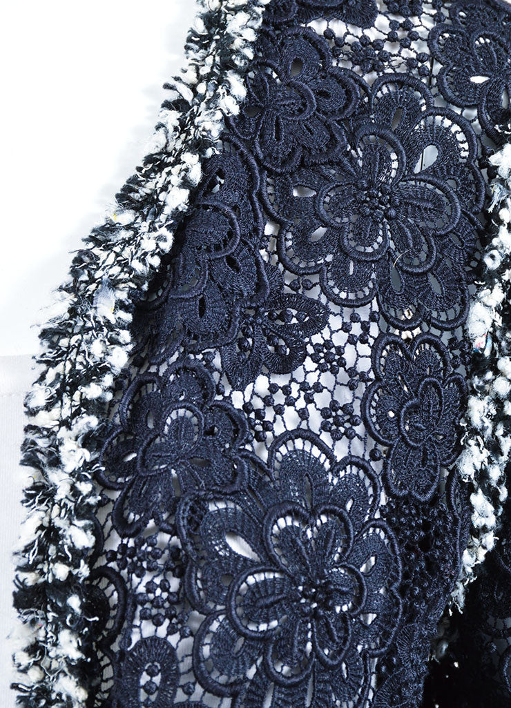 Navy Blue and White Chanel Sheer Embroidered Floral Lace Open Front Jacket Detail