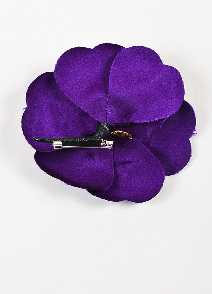 Chanel Purple Silk Camellia Flower Brooch Pin Backview