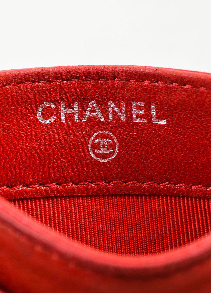 Chanel Red Lambskin Leather Quilted Silver Toned 'CC' Cardholder Brand