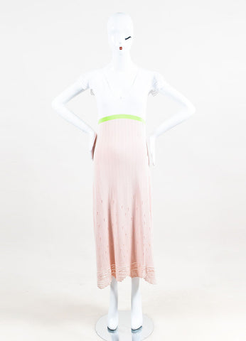 Chanel Pink, Green & White Cotton V-Neck Maxi Dress front