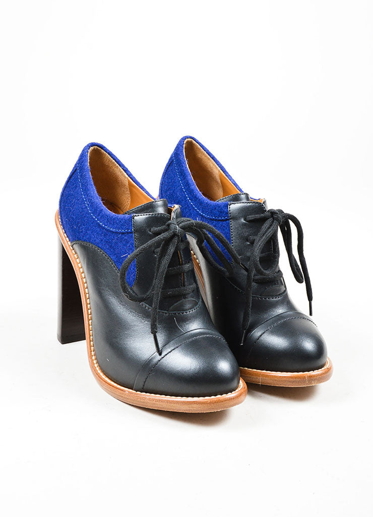 Black and Blue Chloe Leather Felt High Stacked Heel Booties Frontview