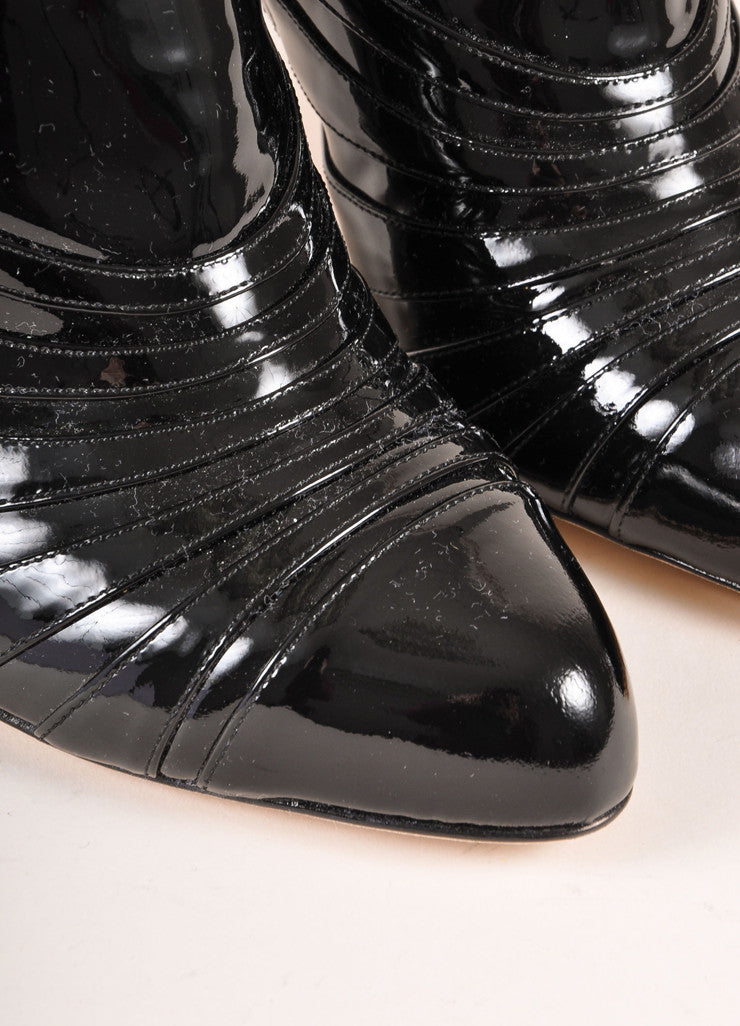 Christian Dior New In Box Black Patent Leather Heeled Booties Detail