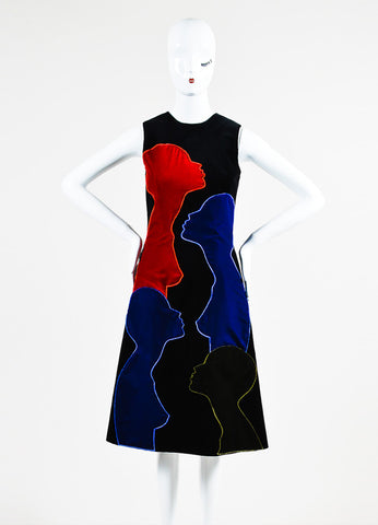 Christopher Kane Black, Red, and Blue Cotton Velvet Sleeveless Shift Dress frontview