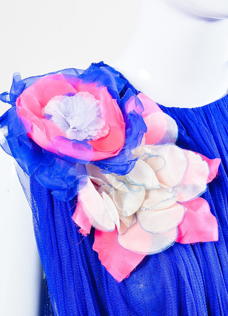 Blue and Pink •ÈÀDelpozo Chiffon Sheer Pleated Floral Applique Top Detail