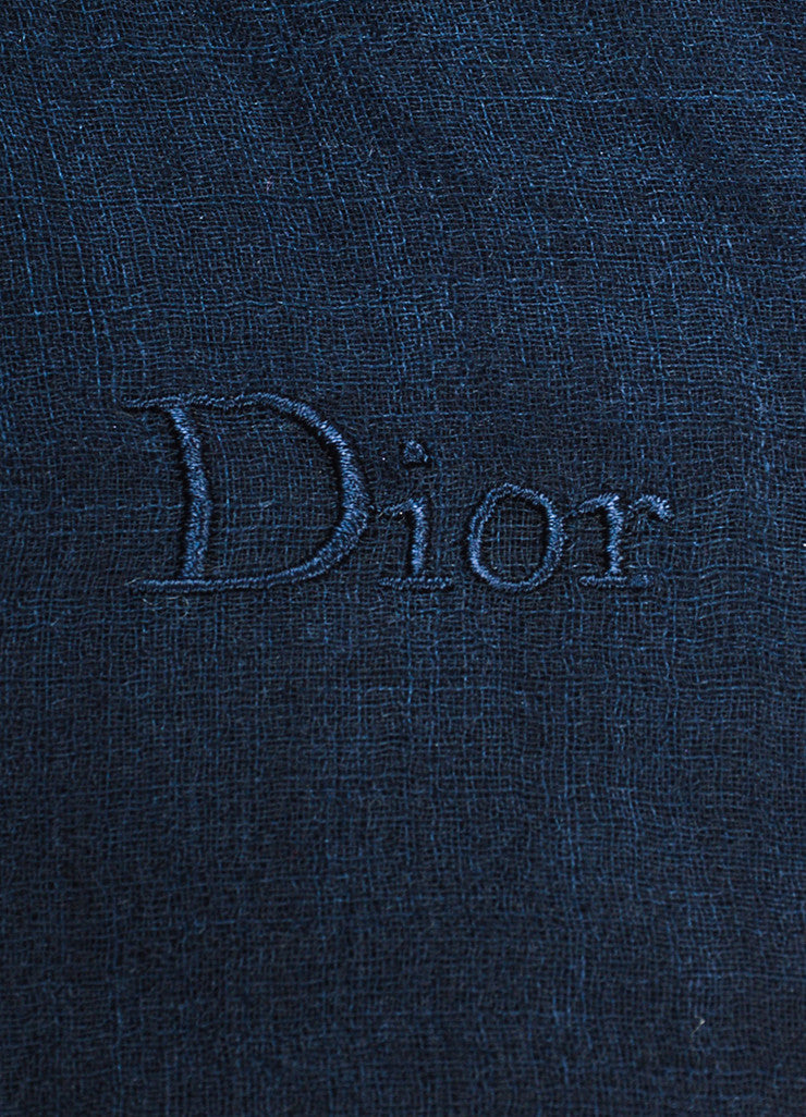 Dior Black, Grey, and Blue Ombre Silk Gauze Oversized Fringe Trim Wrap Scarf Brand