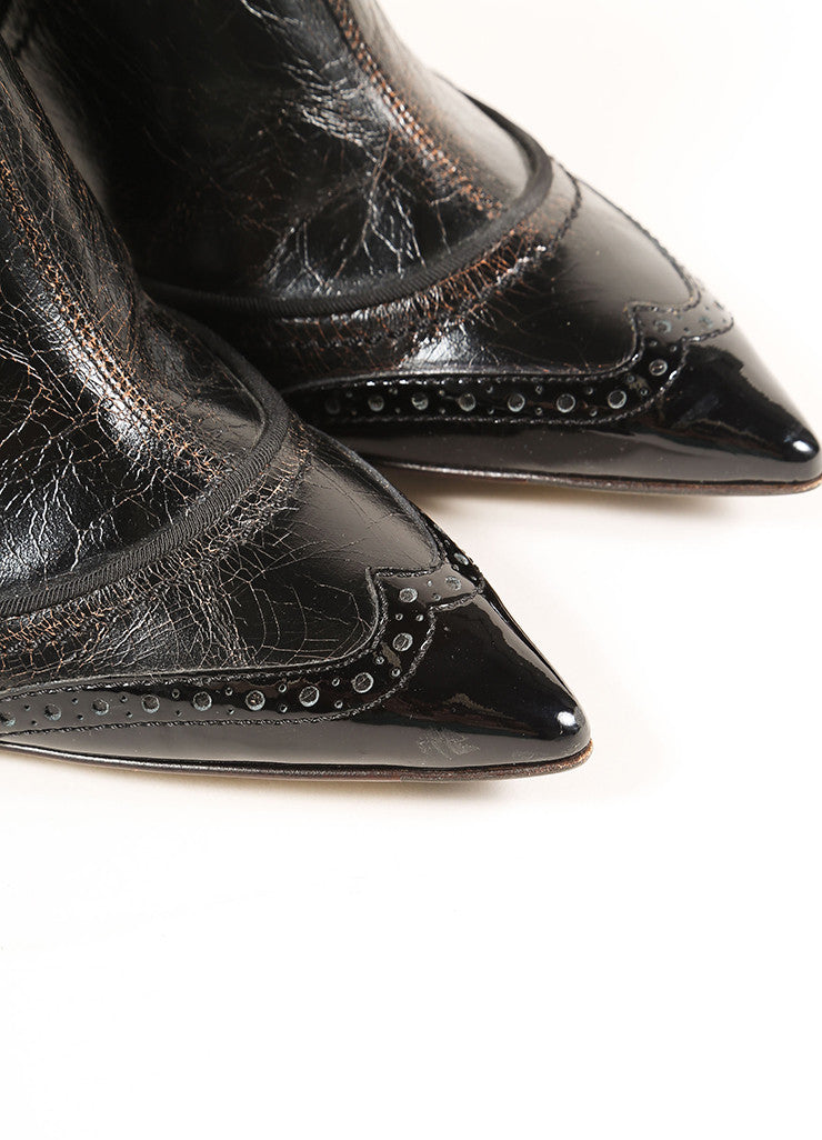 Dolce & Gabbana Black Cracked Leather Patent Trim Wing Tip Ankle Booties Detail