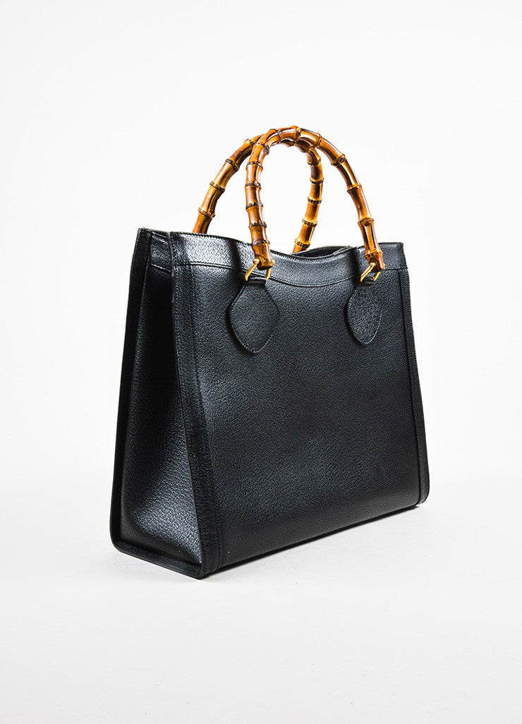 Gucci Black Leather Bamboo Handle Tote Bag Back