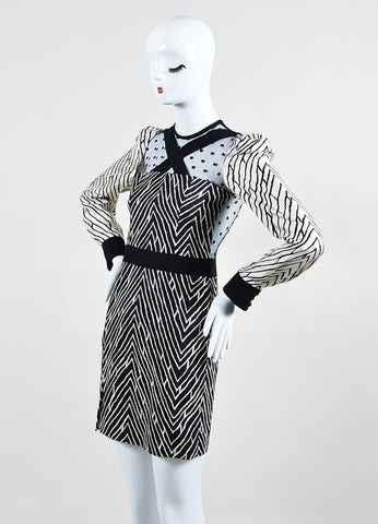 Black and White ̴å«?ÌÎÌÏEmanuel Ungaro Patterned Polka Dot Mesh Back Long Sleeve Dress Sideview