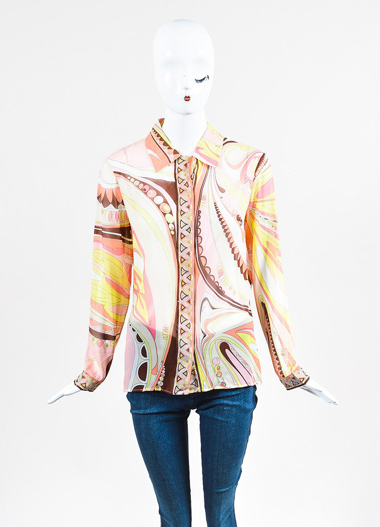 Multicolor Emilio Pucci Silk Printed Sheer Button Up Long Sleeve Blouse Frontview
