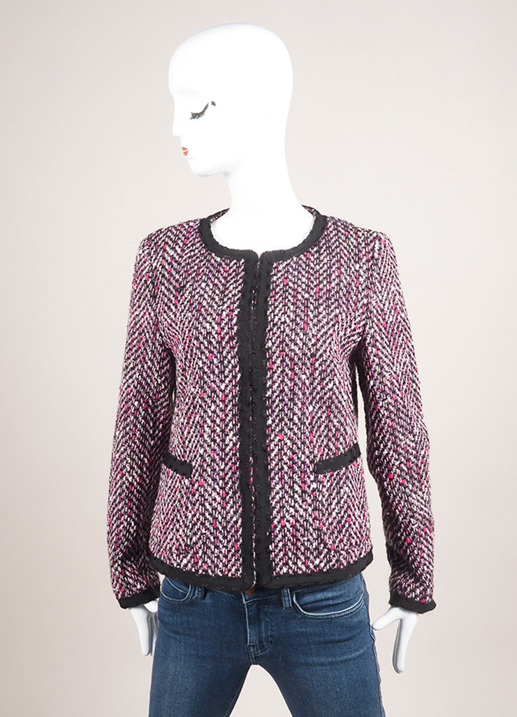 Escada Pink and Black Cotton and Wool Tweed Ribbon Trim Jacket Frontview