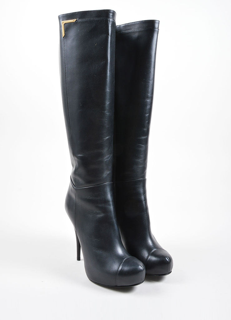 Fendi Black Leather Knee High Platform High Heel Boots Frontview