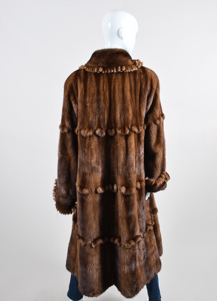 Brown ¥éËFurs By Guarino Fur Fringe Trimmed Long Coat Backview