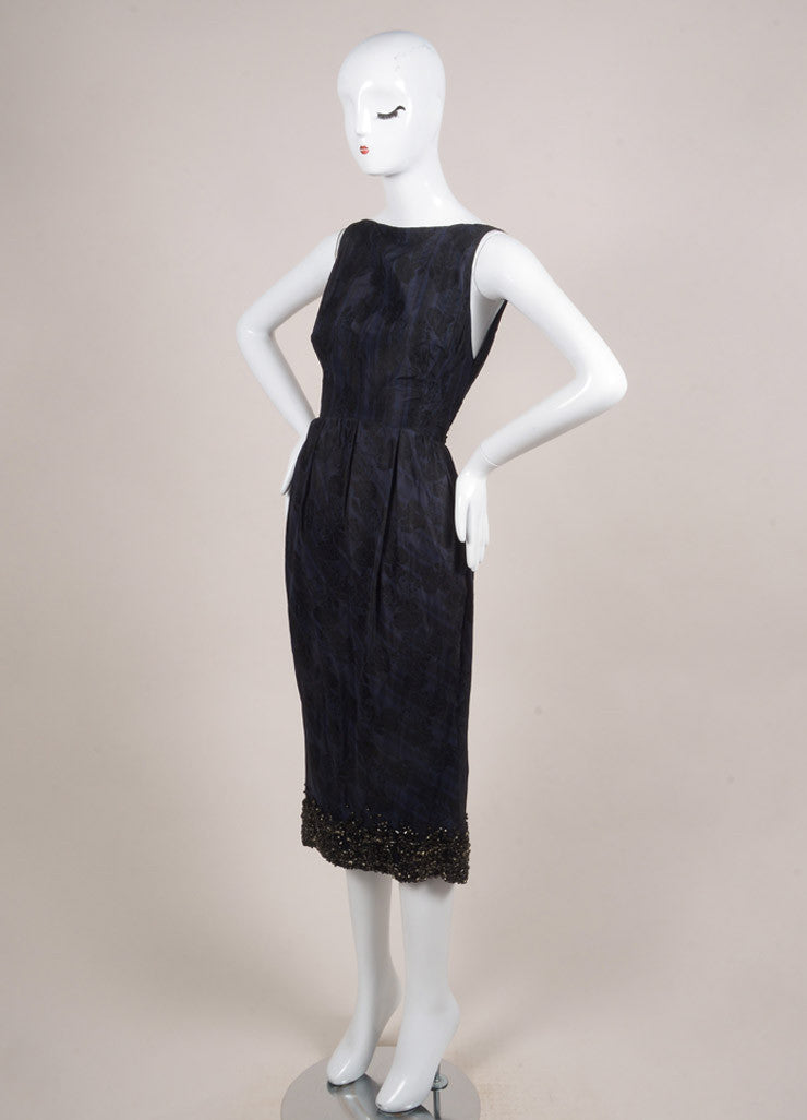 Giambattista Valli Navy Blue and Black Silk Plaid Brocade Embellished Dress Sideview
