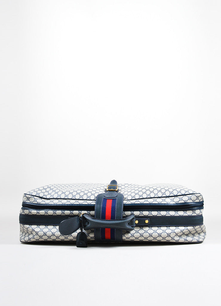 "Blue, Cream, and Red Gucci Coated Canvas and Leather ""GG"" Monogram Large Luggage Topview"