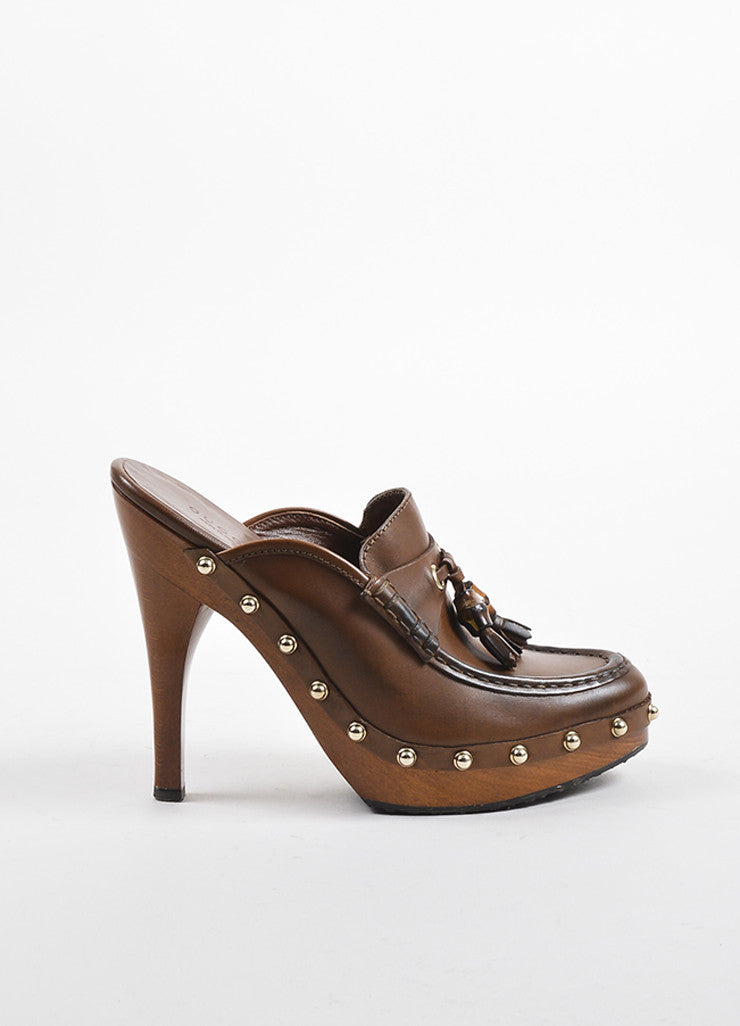 Gucci Brown Leather Wood and Bamboo Tasseled Platform Clogs Sideview