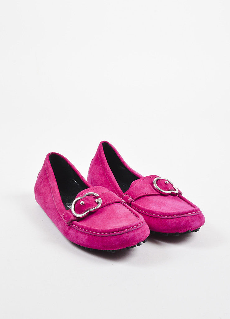 Pink Gucci Suede Leather 'GG' Buckle Round Toe Driving Loafers Front