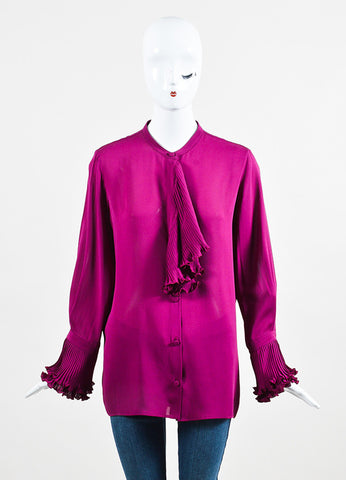 Gucci Plum Purple Silk Ruffle Front Pleat Cuff Long Sleeve Blouse frontview