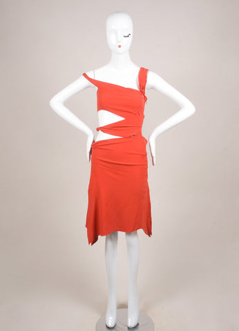 Tom Ford for Gucci Orange Cut Out Strappy Sleeveless Dress Frontview