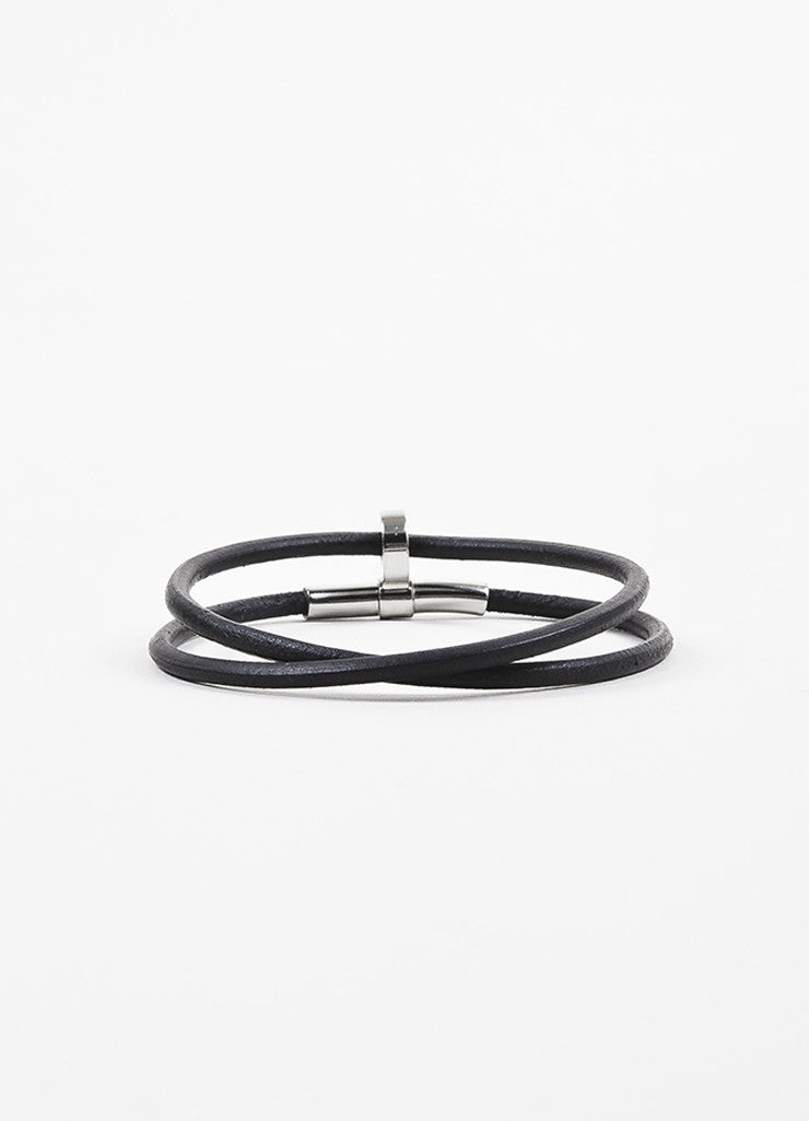 Hermes Black Leather Palladium Plated Double Wrap Bracelet Backview