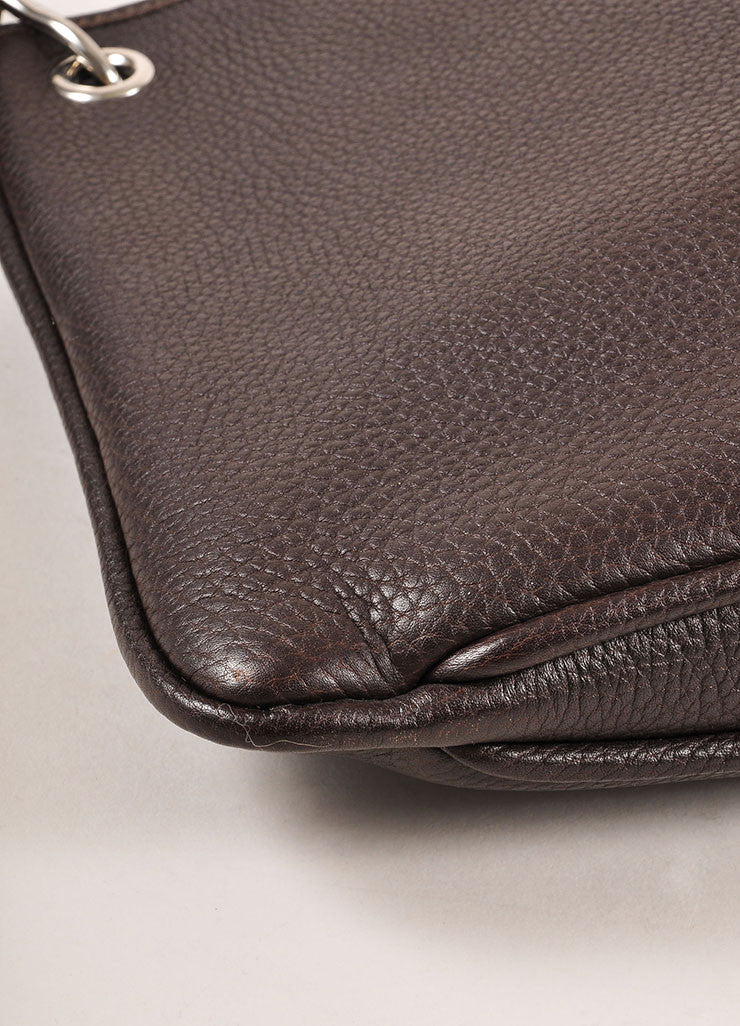 Hermes Brown Pebbled Leather Sloped Shoulder Bag Detail