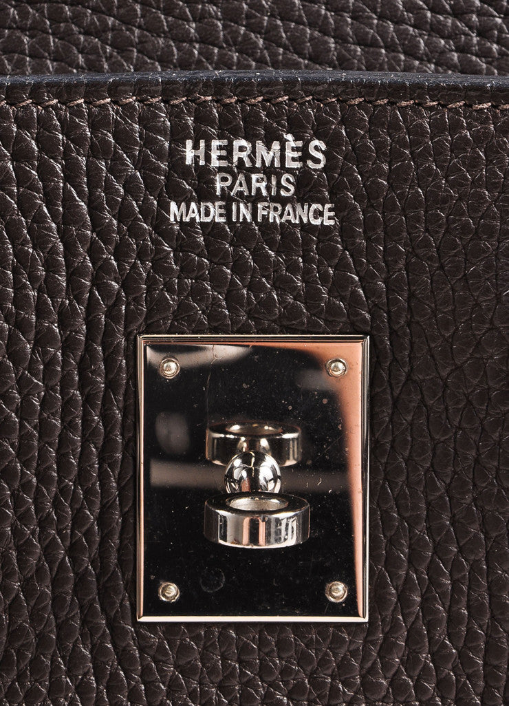 "Hermes Chocolate Brown and Silver Toned Palladium Clemence Leather 35cm ""Birkin"" Bag Brand"