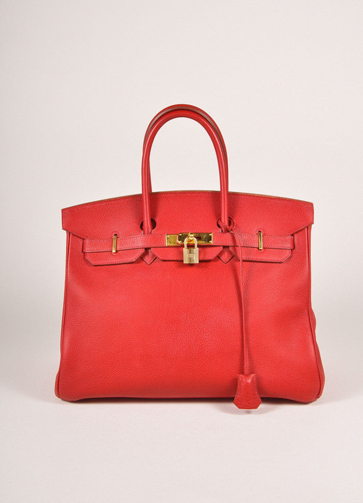 "Hermes Red and Gold Toned ""Rouge Garance"" Buffalo Skipper Leather 35cm Birkin Bag Frontview"